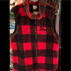 Buffalo plaid Sherpa vest size large
